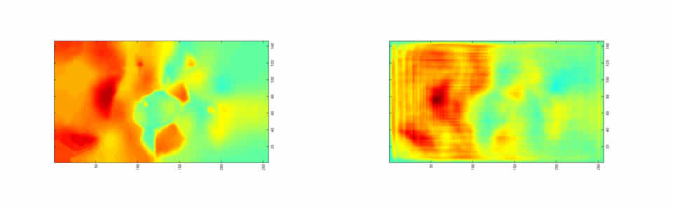 Conditional Lipschitz stability, sparsity, iterative reconstruction via hierarchical compression; scalar waves (left: original wavespeed model; right: reconstruction)